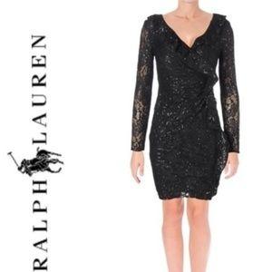 NWT Bkack Sequin Ruffle Cocktail Long Sleeve Dress